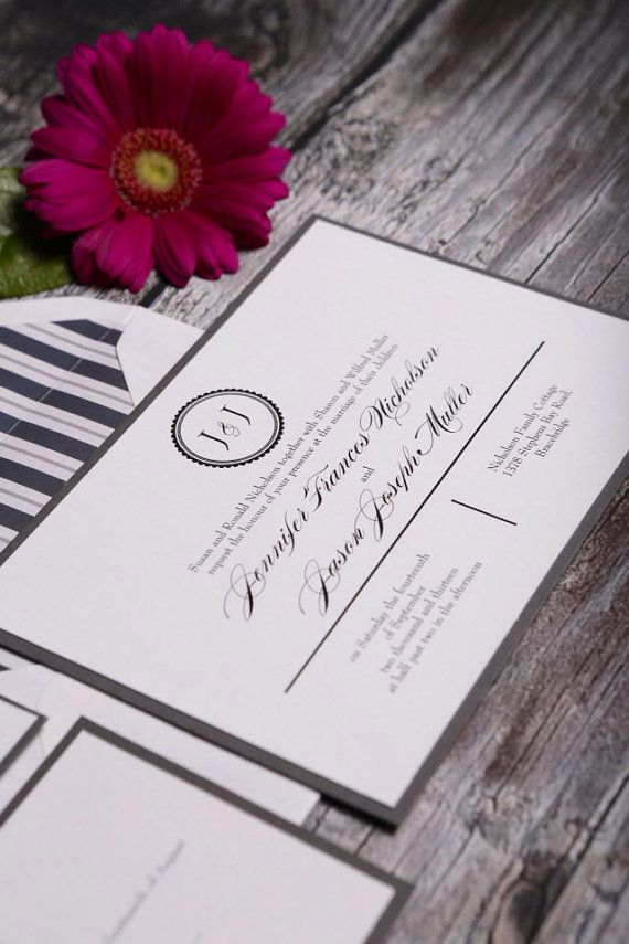 Monogram invitation  Deposit by UptownDesignsCanada on Etsy, $125.00