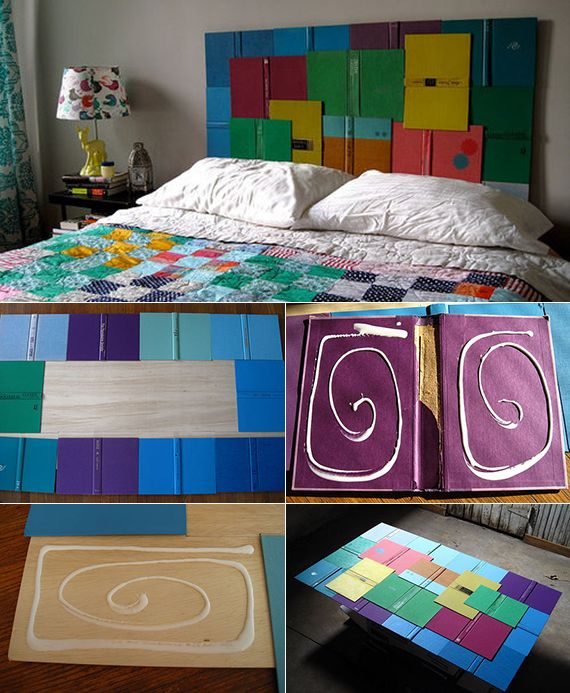 schlafzimmer inspiration für originelle wandgestaltung schlafzimmer mit diy kopfteil aus buchdeckeln