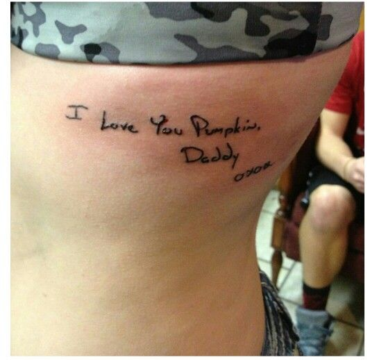 My daughter 39 s tattoo for her dad this is the signature for Father and daughter tattoos