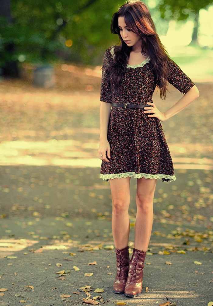 Dress + boots fall  ( I would add leggings or tights to keep my legs warm)