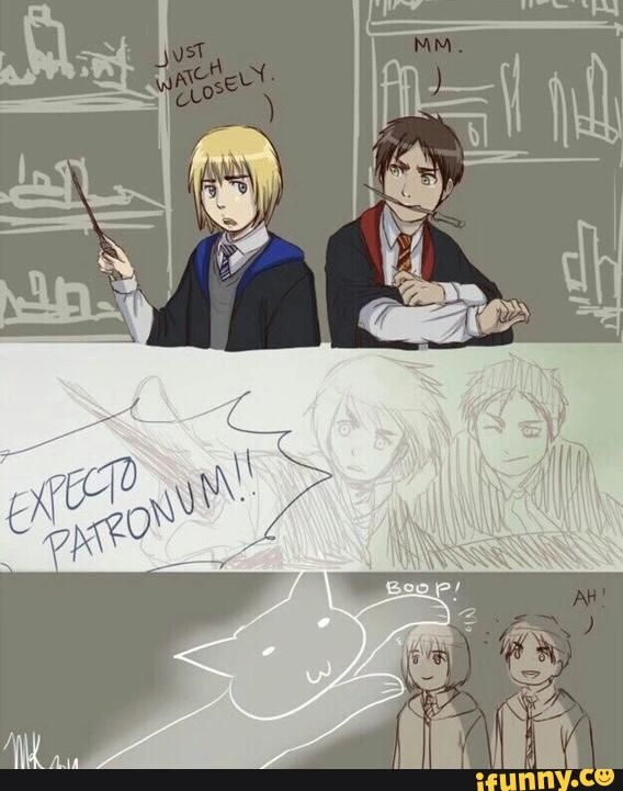 SNK x HP crossover :) | Eren and Armin | lol Armin's patronus would be a cat :D