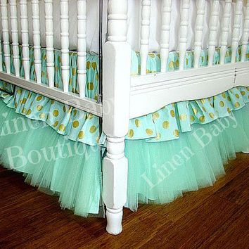 Mint Green Tulle Bumperless Baby Bedding. Tiered Crib Skirt, Rail Guard. Ready to Ship!