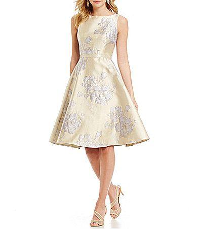Adrianna Papell Beaded Waist Full Circle Skirt Dress #Dillards