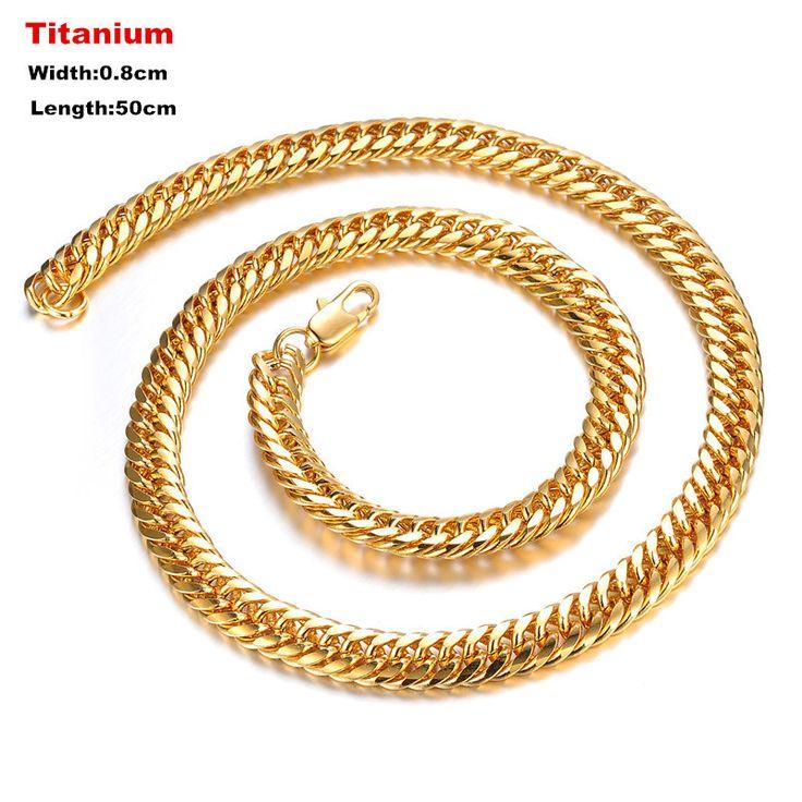 Corrente de Ouro Masculina Gold Neckless Men Bijoux Collier Homme Titanium Neclace Hip Hop Male NeckalceTN027