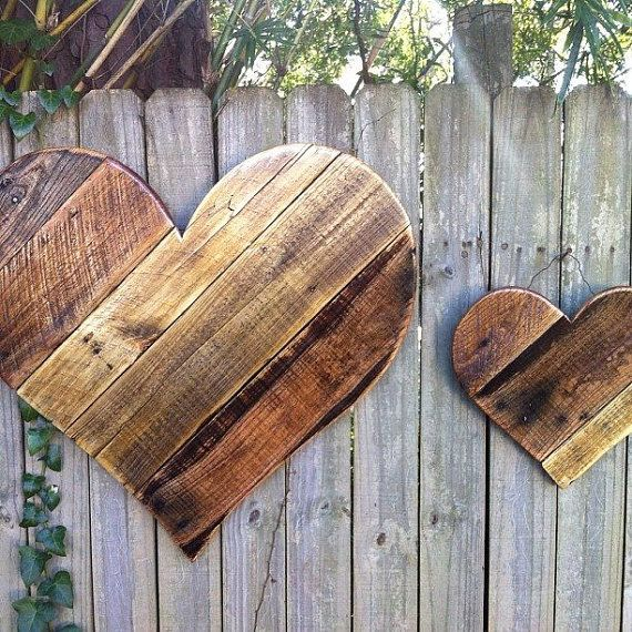 Rustic Reclaimed Wood Hearts - mother's day, spring, summer wood door hangers/ garden and home decor