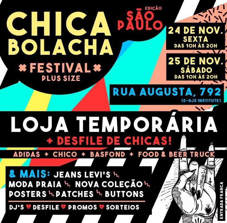 Alô alô fãs da @chicabolacha de São Paulo: vai rolar um festival bacanérrimo com moda música desfile e gostosuras para as chicas paulistanas! Vai ter mil coisas incríveis no evento olha só: O Chica Festival chega até vocês para levar a experiência de uma loja física & completa de verdade! - Um lugar bacanérrimo NOVA COLEÇÃO e promos jeanswear plus size Levi's MODA PRAIA Adidas! - Acessórios: aqueles posters lindos que vocês amam buttons & patches. -CONVIDADOS MAIS QUE ESPECIAIS: Loja Chico…