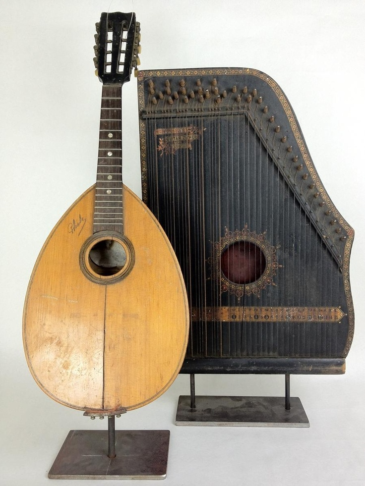 antique musical instruments a french mandolin looks like a guitar and a guitar zither which. Black Bedroom Furniture Sets. Home Design Ideas
