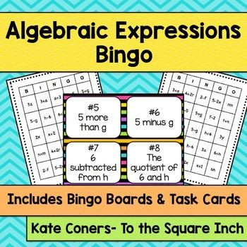 Algebraic Expressions Bingo and Task CardsIncluded in this product:30 unique…