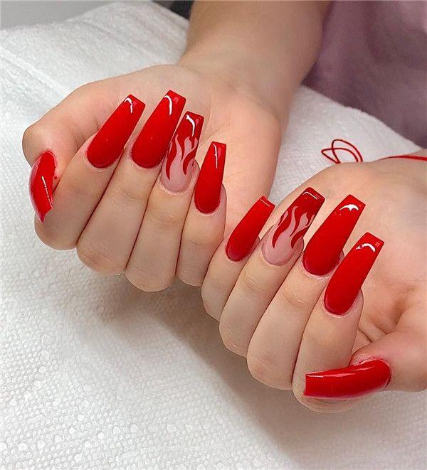 Acrylic Red Nails Art Addicfashion