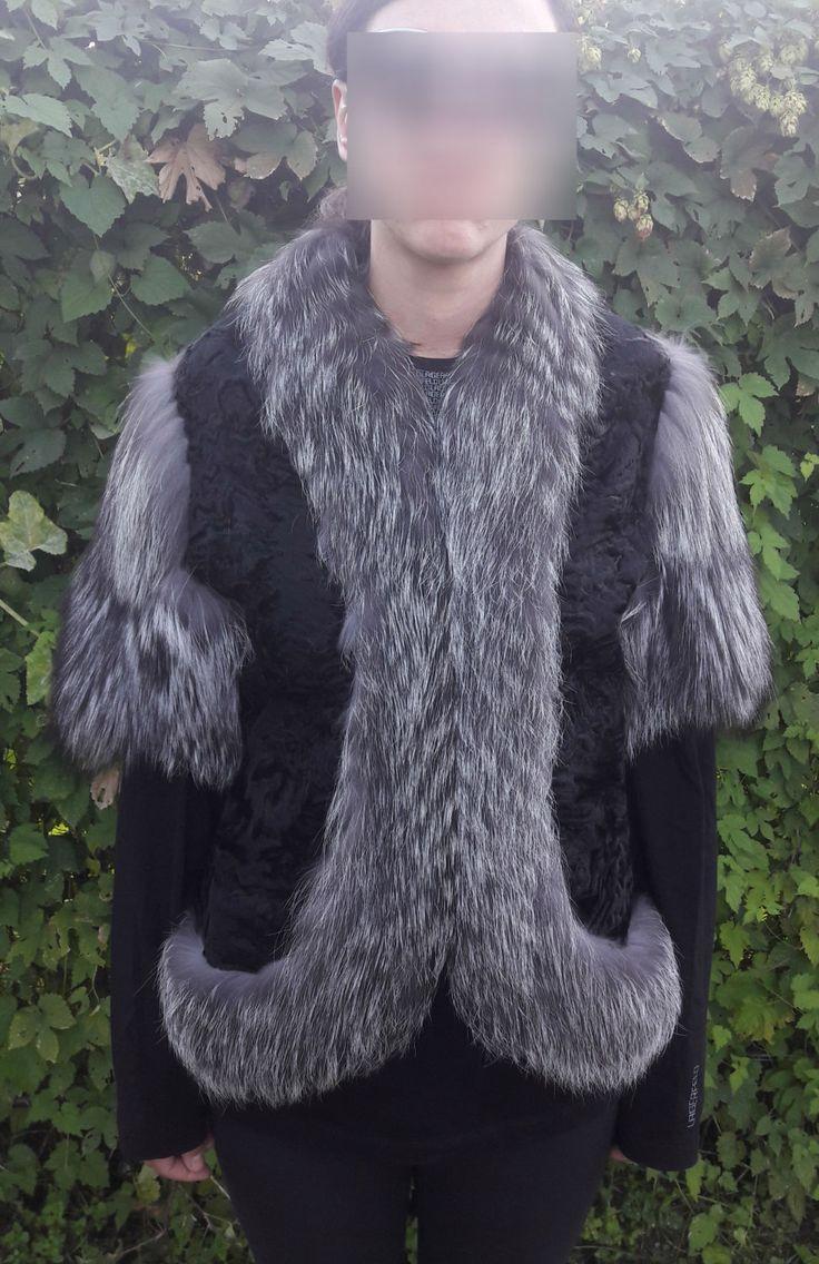 real SWAKARA SILVER FOX fur jacket full skin-Swakara Silberfuchs Pelzjacke Voll Haut by DamianKastorianFurs on Etsy
