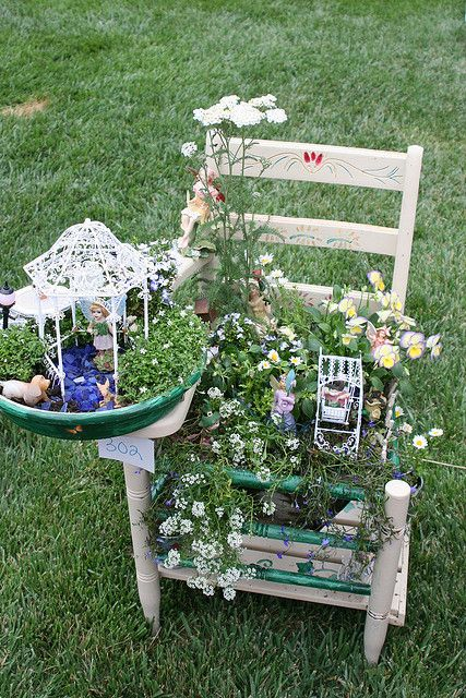 fairy garden in a school chair : ) lovee this !