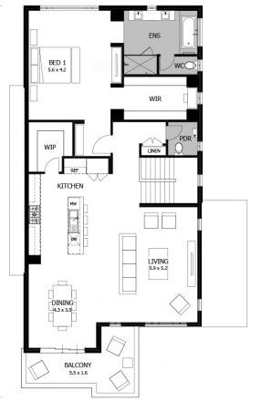 Seabreeze 39 sq - First Floor  #twostoreyhome #mojohomes #floorplan