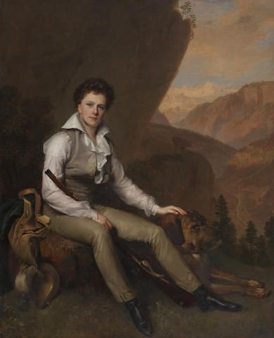 Firmin Massot (Geneva 1766-1849) Portrait of John Campbell, 5th Earl and 2nd Marquess of Breadalbane, seated in a mountainous landscape 75 x 61 cm. (29 1/2 x 24 in.)
