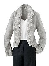 Lace look shawl collar and cuffs. Modern Romance Cardigan   Appleseeds