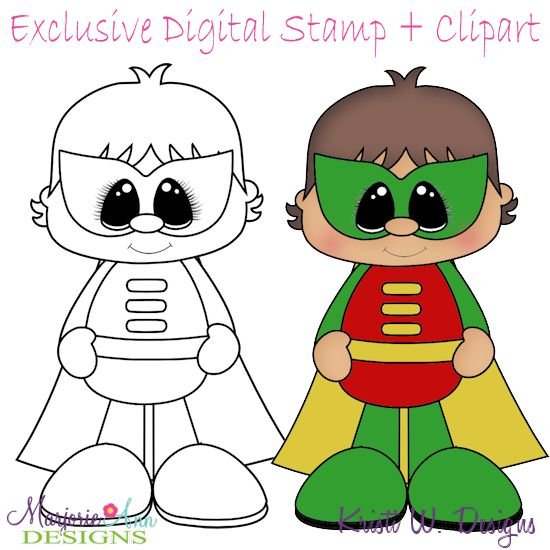 Little Super Hero 3 Stamps come in JPG & PNG format Also included, is the colored in clipart that can be used for print and cut projects