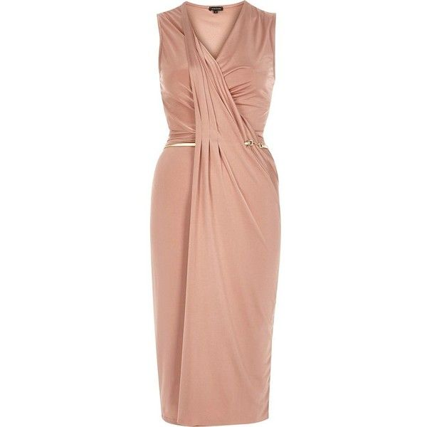 River Island Light pink slinky drape bodycon dress (£25) ❤ liked on Polyvore featuring dresses, sale, bodycon cocktail dresses, red midi dress, v neck cocktail dress, red v neck dress and red body con dress