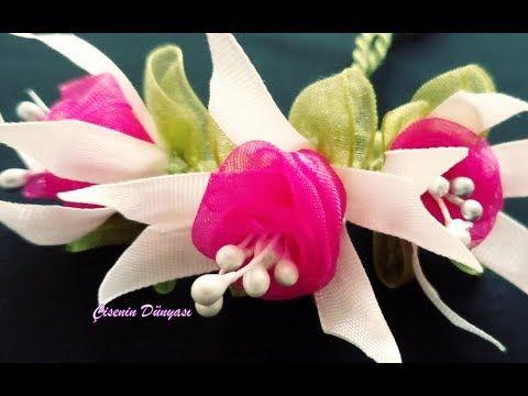 Kurdeleden pembe küpeli çiçeği nasıl yapılır Sesli anlatımla. Kurdele oyaları - YouTube