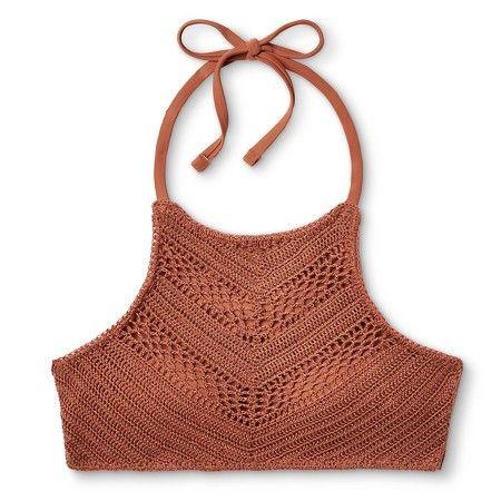 Women's Crochet High Neck Bikini Top - Copper - M - Xhilaration™ : Target