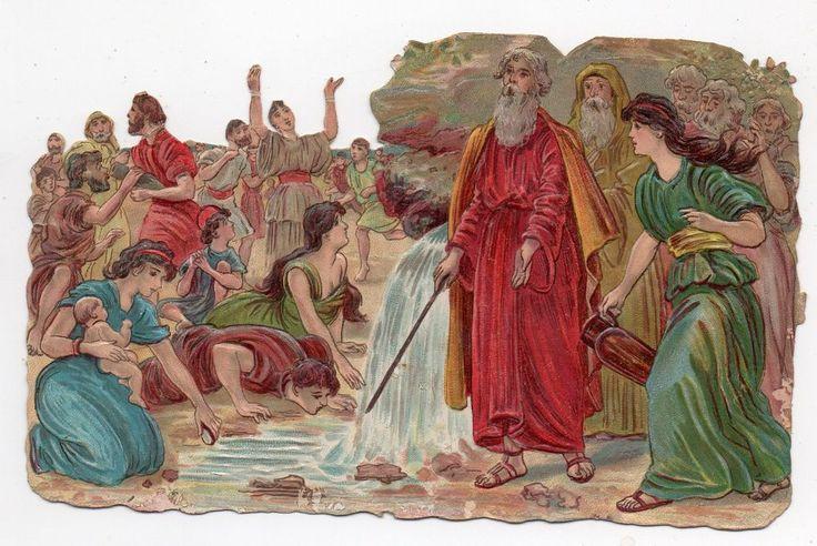 Chromo découpi Die cut Oblaten glanzbild scrap - Scène Biblique Moïse - 15 cm