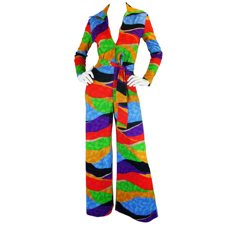 1970s Rare Lanvin Multi Colour Jumpsuit @ SHRIMPTONCOUTURE.COM