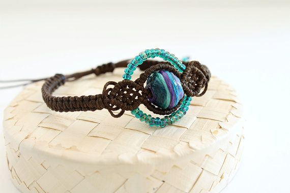 Macramè ethnic bracelet with beads brown blue by KnottedWorld