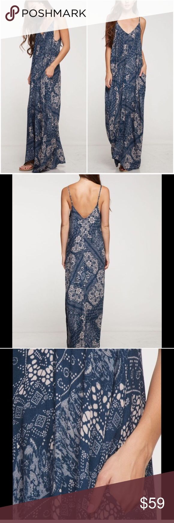 Best Maxi Dress Cocoon Side Pocket Style Beautiful and flattering look is this print teal and vanilla maxi dress with side pocket details . My best selling cocoon style . Unique print layer with chunky cardigans . Will fit size medium through XL due to style . Vivacouture Dresses
