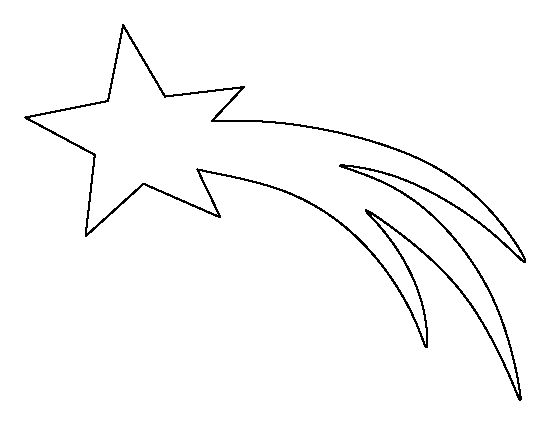 Shooting star pattern. Use the printable outline for crafts, creating stencils, scrapbooking, and more. Free PDF template to download and print at http://patternuniverse.com/download/shooting-star-pattern/