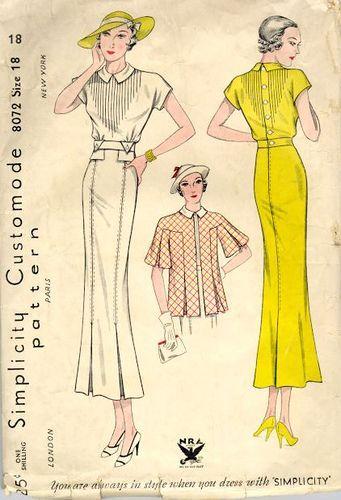 decorative stitches, not pintucks vintage 1930's fashion
