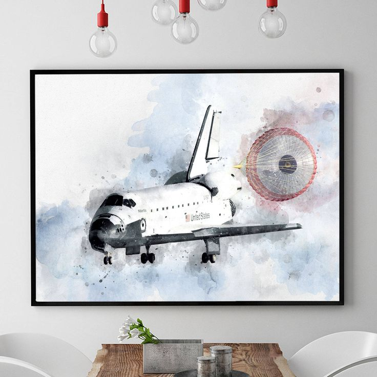 NASA Poster, Space Shuttle Poster, Nasa Print, Space Shuttle Art, Watercolour Space Wall Art, Space Shuttle Decor, Kids Room Wall (N319) by PointDotPrints on Etsy