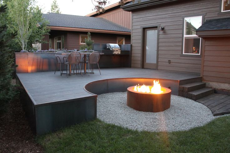 55 best fireplace firepit images on pinterest bonfire for Fireplace on raised deck