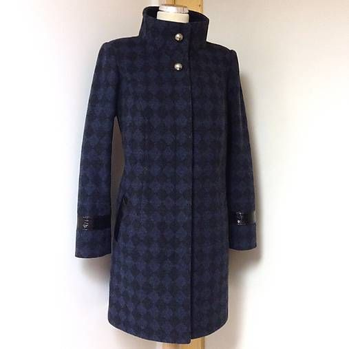 LuxuryCouture / Vlnený kabát KOSOŠTVORČEKY