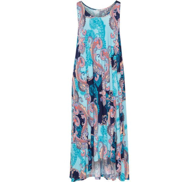 Mat Blue / Multicolour Plus Size Paisley print shirt dress ($59) ❤ liked on Polyvore featuring dresses, blue, plus size, blue dress, plus size dresses, midi dress, midi shirt dress and t-shirt dresses