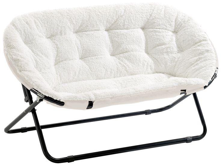 Urban Shop Double Saucer Chair White Sherpa Anna