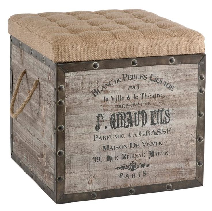 Distressed Wood Storage Ottoman ~ French country vintage crate burlap cushion cube storage