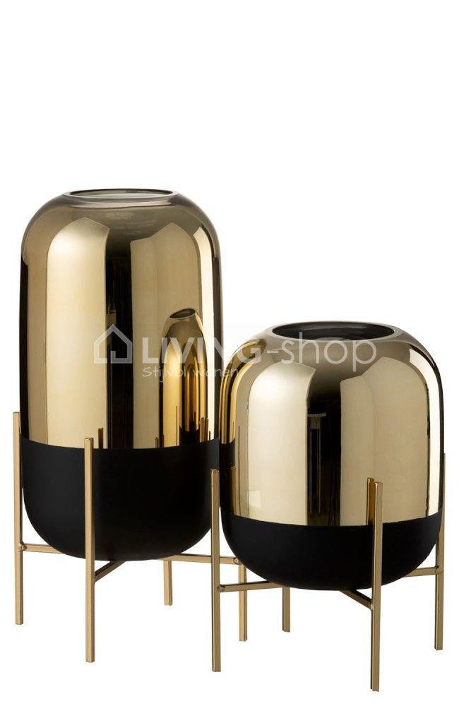 Windlichten Op Voet Zwart Goud J Line Decoratie Modern Vintage Living Shop Stijlvolwonen Webshop Goud Interieur Gouden Vazen Vazen