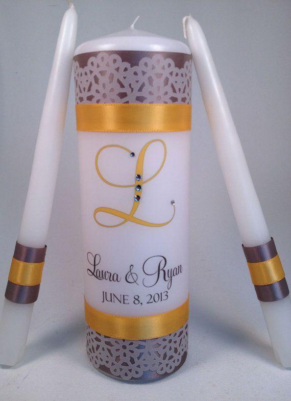Lace Design Personalized Monogram Unity Candle by LanColeStudios, $30.00
