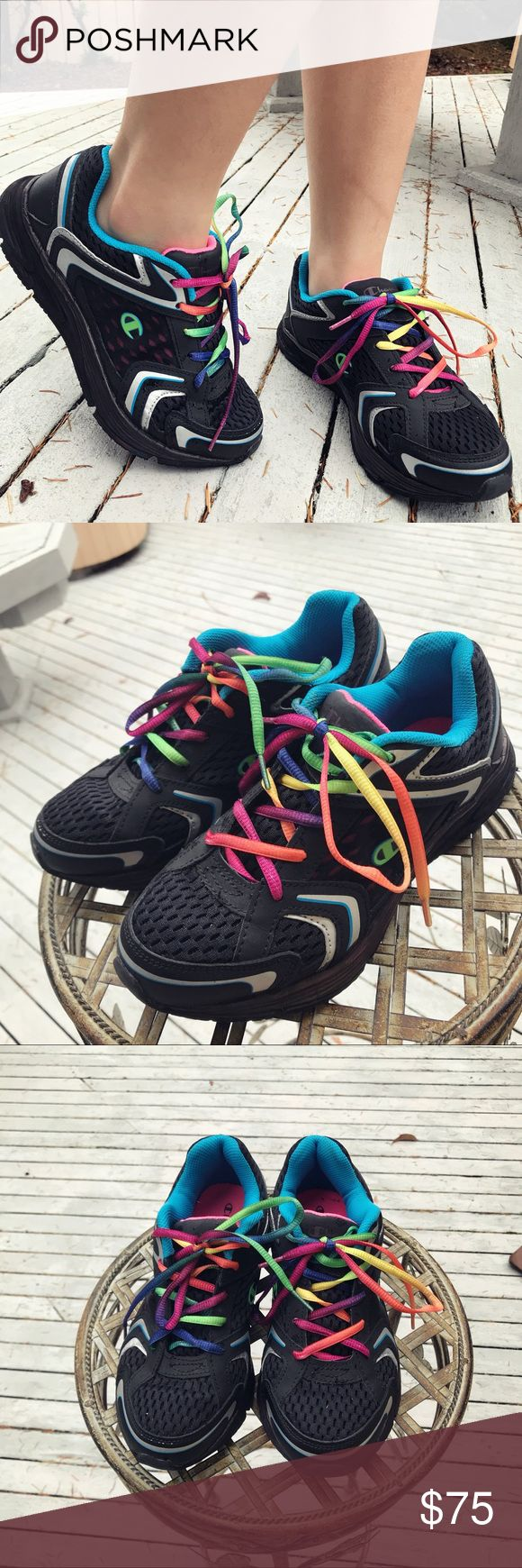 Champion multi-colored sneakers Insane vintage multicolored Champion shoes. These are so beautiful and would be perfect for Champion collectors.  Size 7.5 in women's . In perfect condition because i only worn once, Super rare! Champion Shoes Sneakers