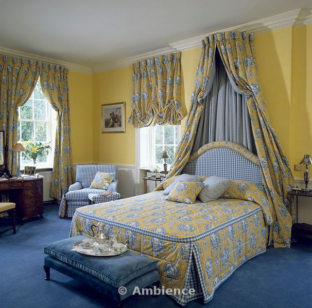 yellow and blue curtains with coronet drapes and bed cover in yellow ...