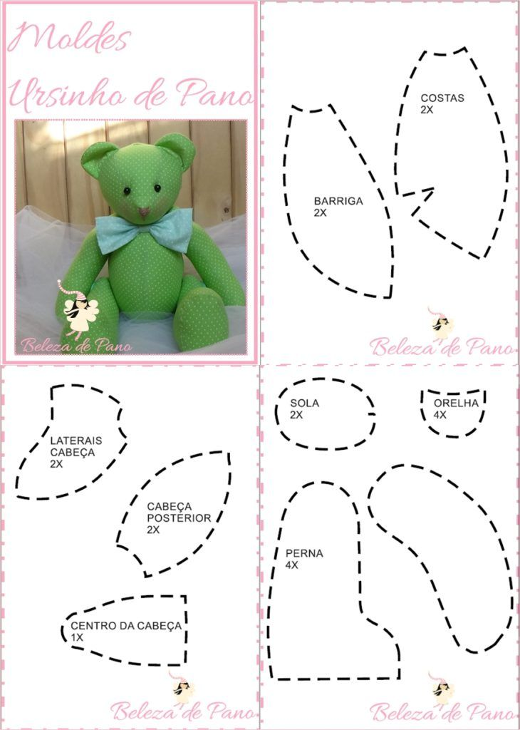 Resultado de imagem para MOLDE DE URSOS DE TECIDO | peluches | Teddy ...