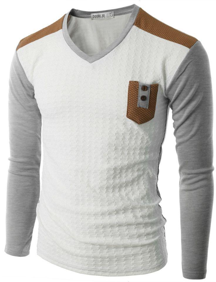 Doublju Men's Long Sleeve Baseball T-Shirt with Pocket (CMTTL011) #doublju
