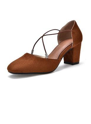 Women's Pumps Pumps Closed Toe Chunky Heel Suede Shoes - Floryday @  floryday.com