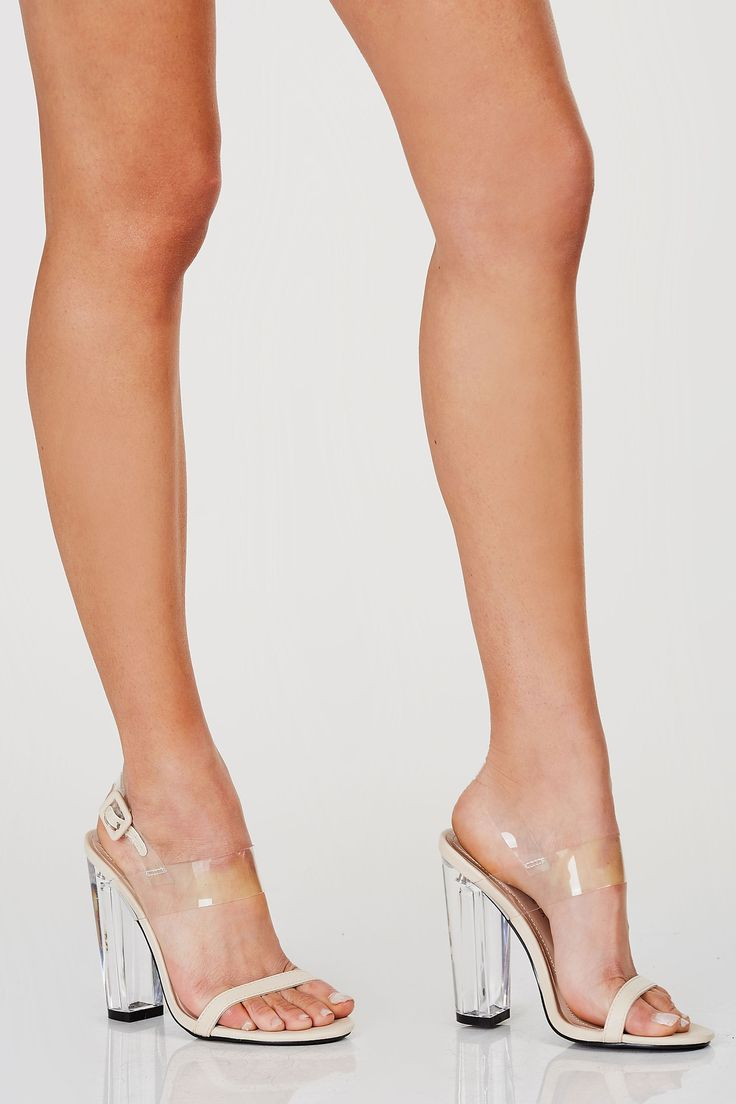"""Ope toe ankle strap heels with contrast clear ankle band with adjustble buckle and clear block heels. - Man made materials - Imported - Approx. heel height: 4.5"""" - Also available in Black"""