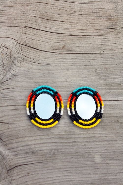Pictured are a pair of multicolored flat oval earrings. Buyer has the option of having posts or earring hooks, just let me know which is preferred :)
