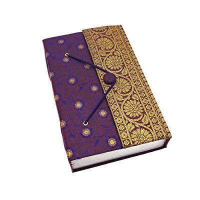 Fair Trade Quaderno ricoperto in tessuto sari 255 x 140 mm extra grande viola