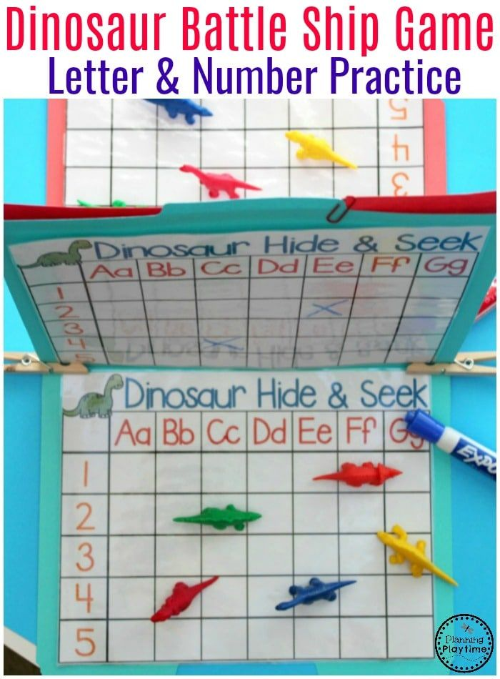 Dinosaur Battleship Letter and Number Recognition Game - Preschool Dinosaur Activities. #preschool #dinosaurtheme #dinosaur #preschoolactivities