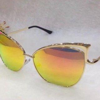 Солнечные очки желтые зеркальные женские