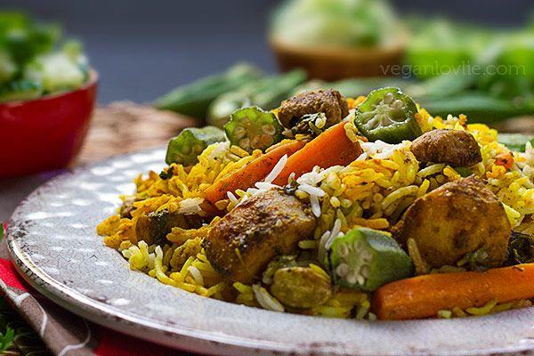 Mauritian Biryani (Vegan) with Okra and Soya Chunks (Textured Vegetable Protein) Recipe