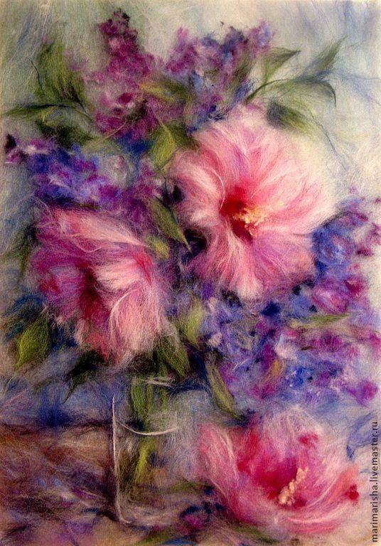 Купить Картина из шерсти Элегия - розовый, картина из шерсти, живопись шерстью, Живопись, картина