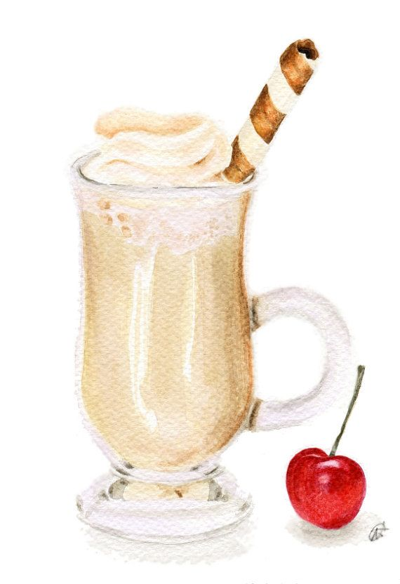 Coffee Latte In Irish Mug ORIGINAL watercolour por ForestSpiritArt, £22.00