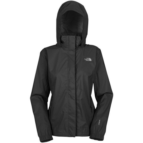 The North Face Resolve Waterproof Women's Jacket, Black ($130) ❤ liked on Polyvore featuring activewear, activewear jackets, jackets, long sleeve shrug, shrug cardigan, the north face, cardigan shrug and cocoon shrug